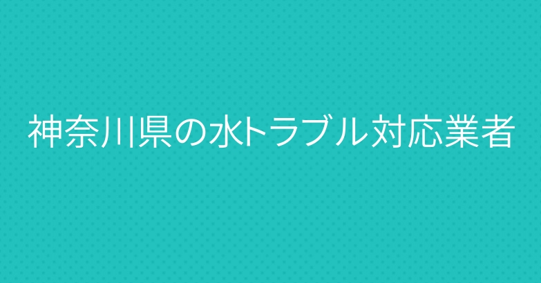 神奈川県の水トラブル対応業者