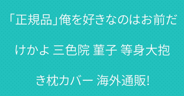 「正規品」俺を好きなのはお前だけかよ 三色院 菫子 等身大抱き枕カバー 海外通販!