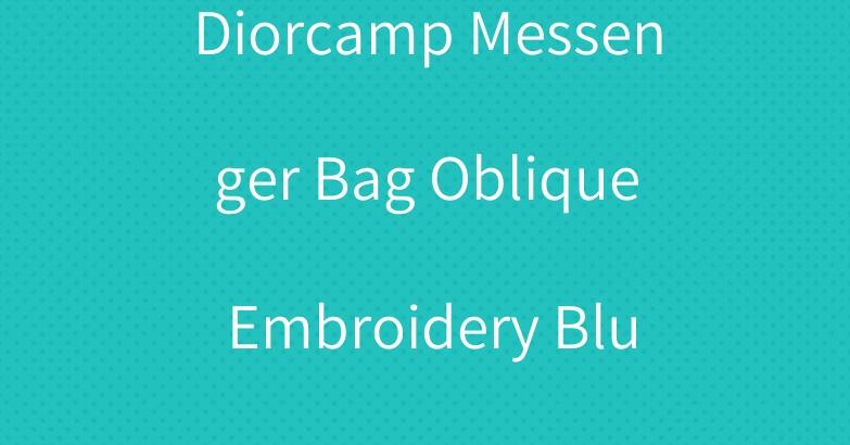 Diorcamp Messenger Bag Oblique Embroidery Blue